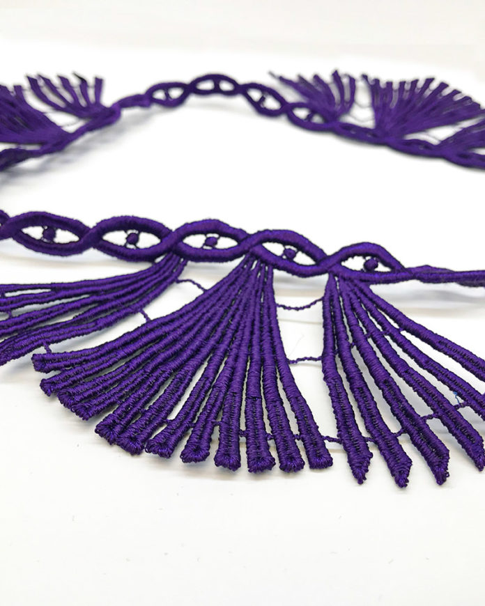 Purple scallop lace
