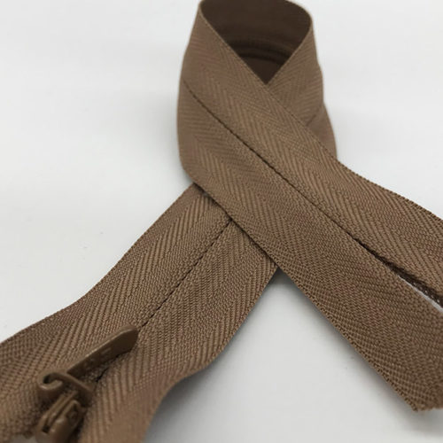 Brown zip 25cm