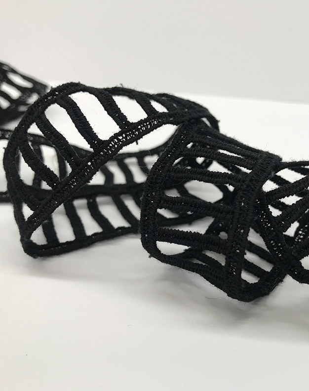 Black ladder lace trimming