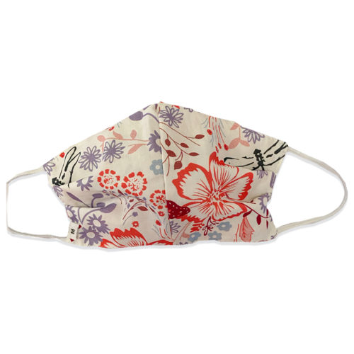 White Floral Pattern Fabric Mask