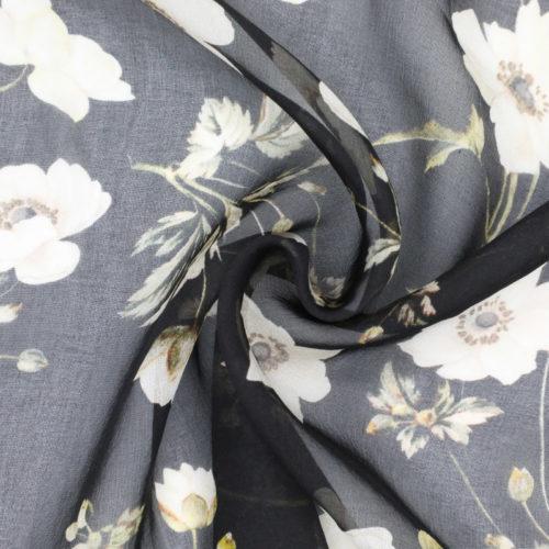 Black floral silk
