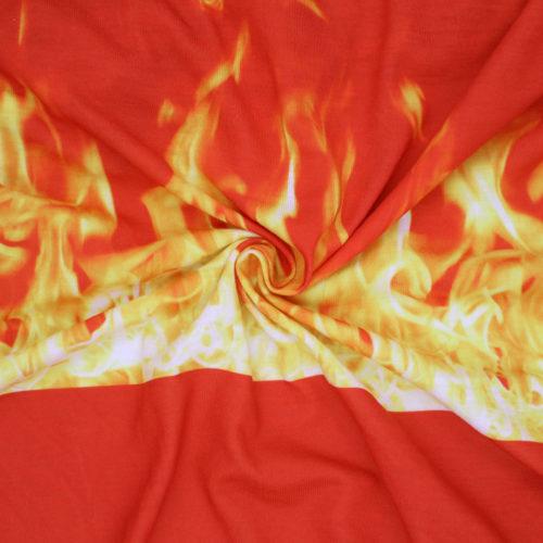 Fire print spun polyester jersey