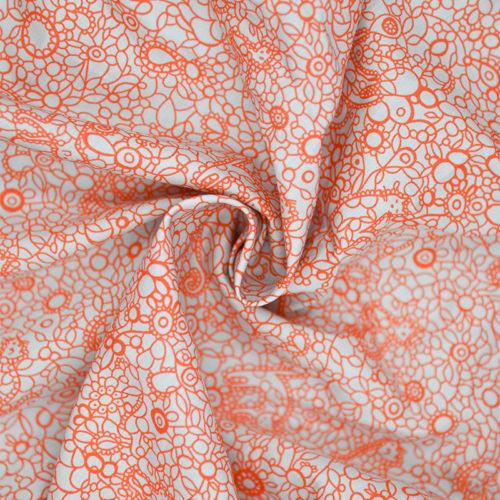 Orange cat print cotton