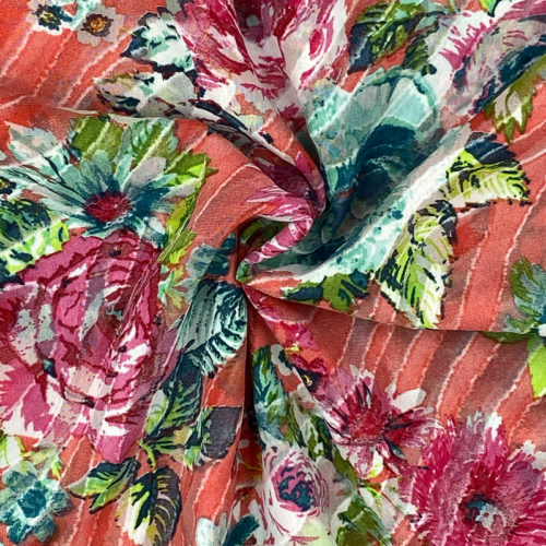 Red floral chiffon