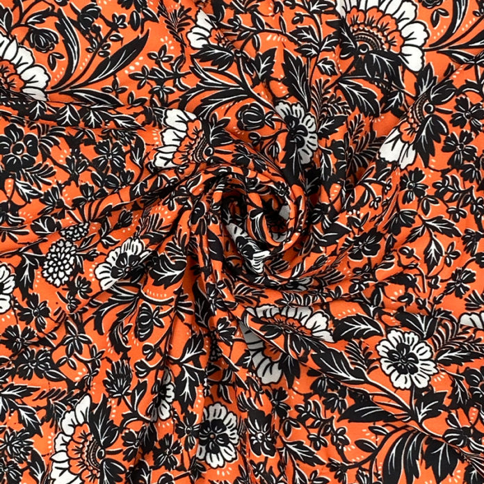 Orange floral chiffon